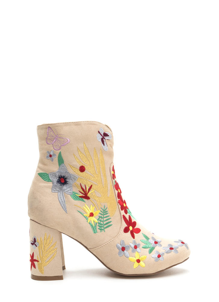 Garden Path Embroidered Chunky Booties