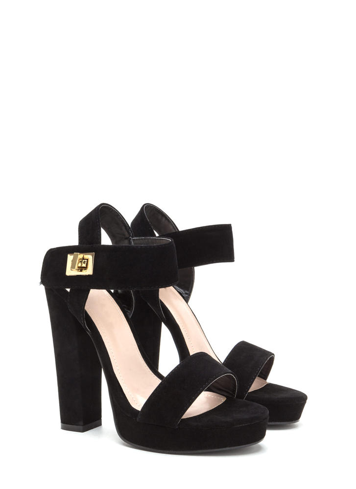 On Lock Chunky Faux Suede Platforms BLACK