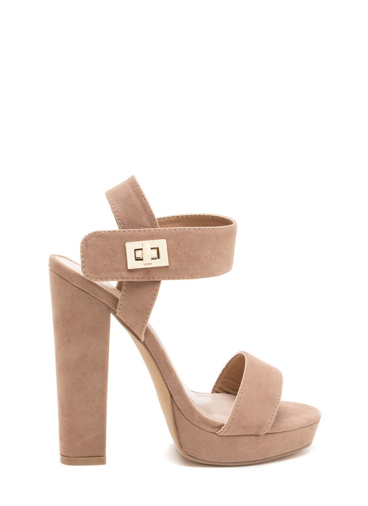 On Lock Chunky Faux Suede Platforms TAUPE