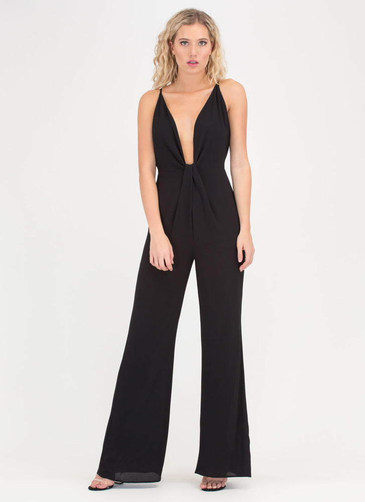Glam Goddess Plunging Knotted Jumpsuit