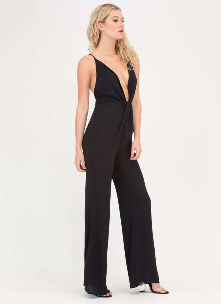Glam Goddess Plunging Knotted Jumpsuit BLACK