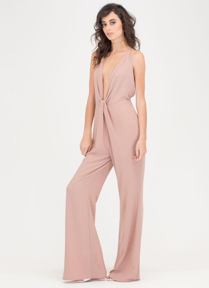 Glam Goddess Plunging Knotted Jumpsuit TAUPE