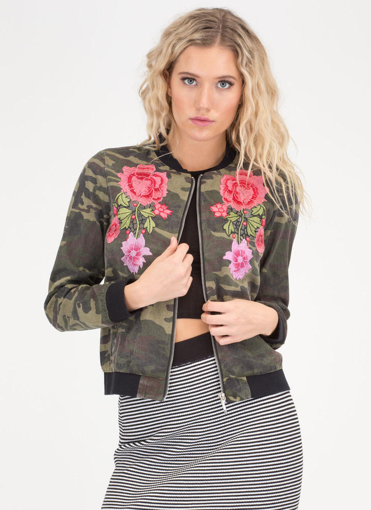 Both Worlds Embroidered Camo Jacket