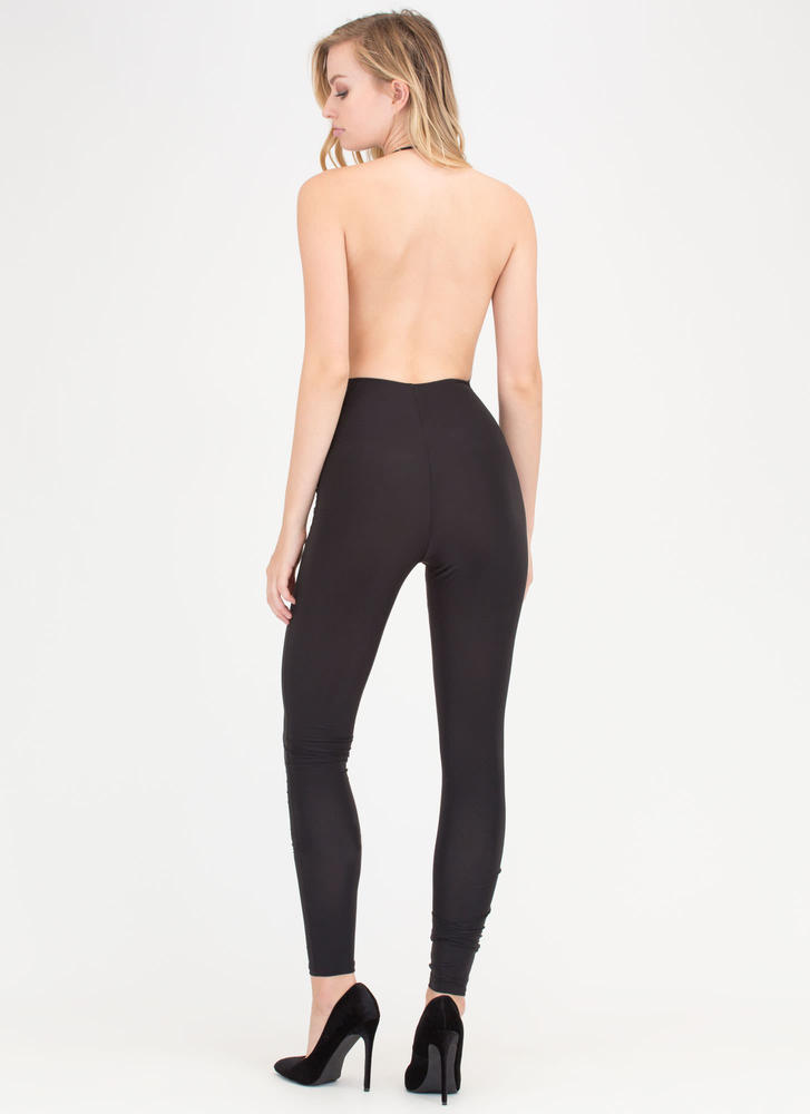 Night Cowl Fitted Halter Jumpsuit BLACK
