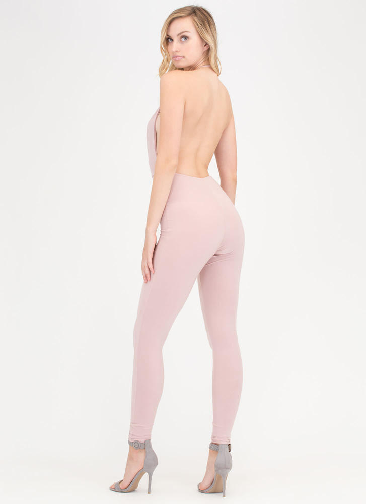 Night Cowl Fitted Halter Jumpsuit DUSTYPINK