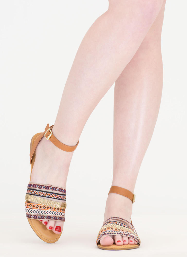 Step Into The Southwest Strappy Sandals TAN