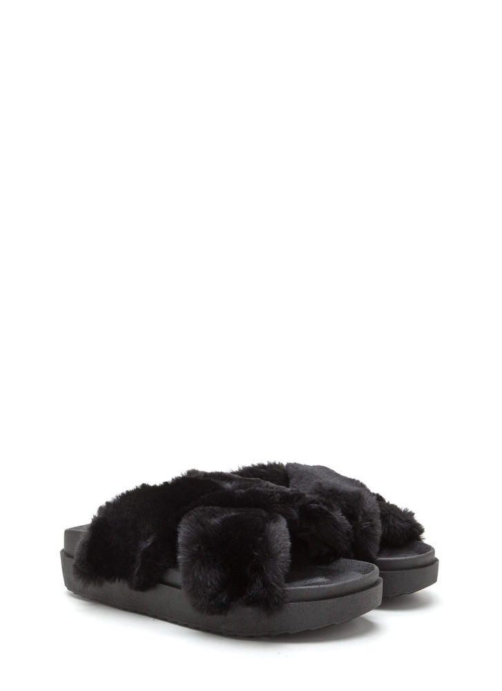 Thick And Thick Faux Fur Slide Sandals BLACK