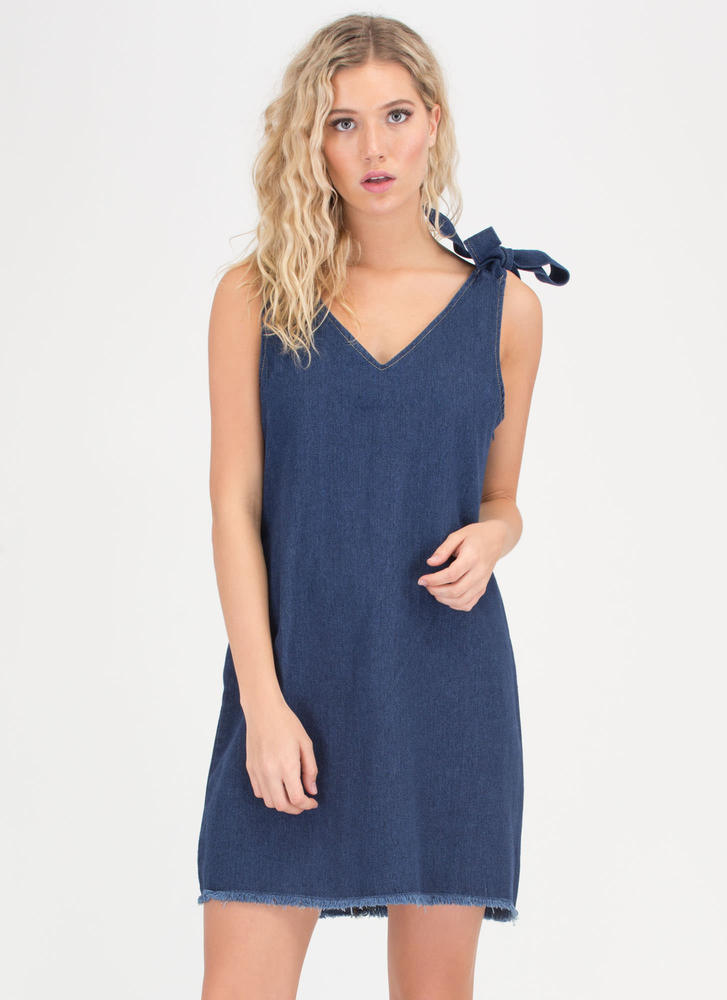 Bow Tied Fringed Denim Shift Dress BLUE