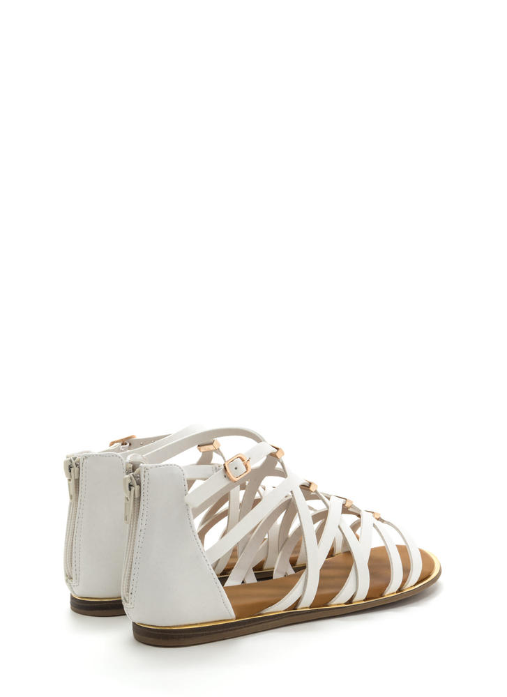 Set The Bar Caged Gladiator Sandals WHITE