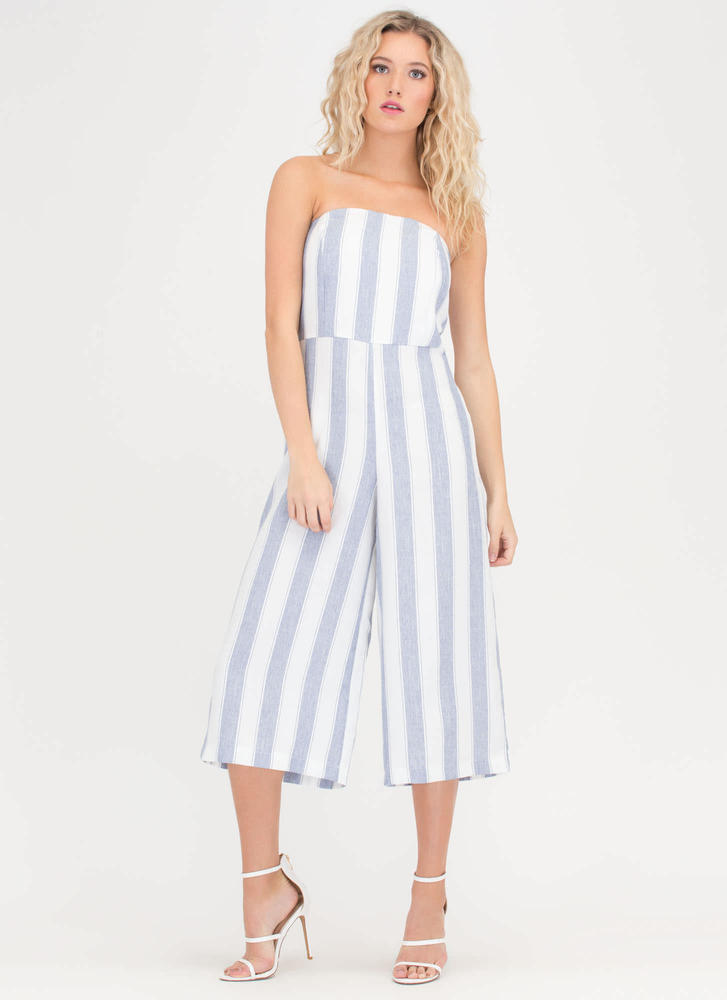 Vacay Striped Strapless Culotte Jumpsuit