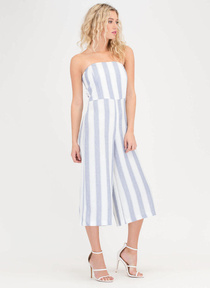 Vacay Striped Strapless Culotte Jumpsuit BLUE