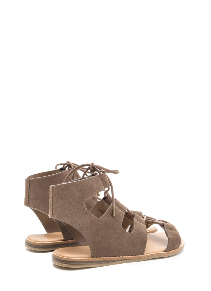 Sunny Days Lace-Up Gladiator Sandals TAUPE
