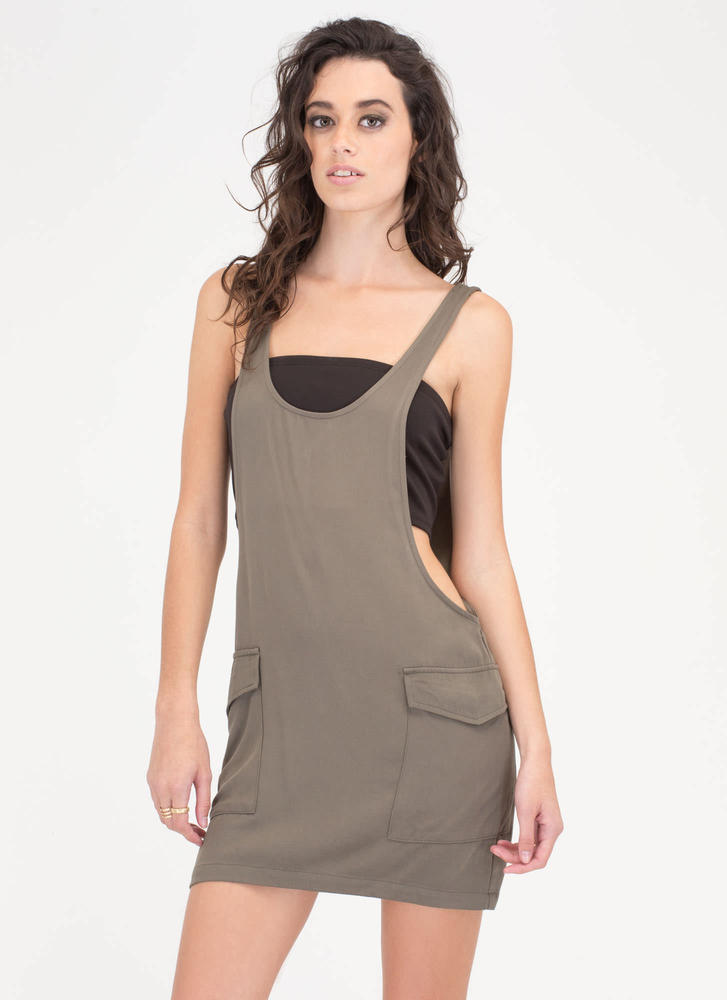 New Cargo Plunging Minidress