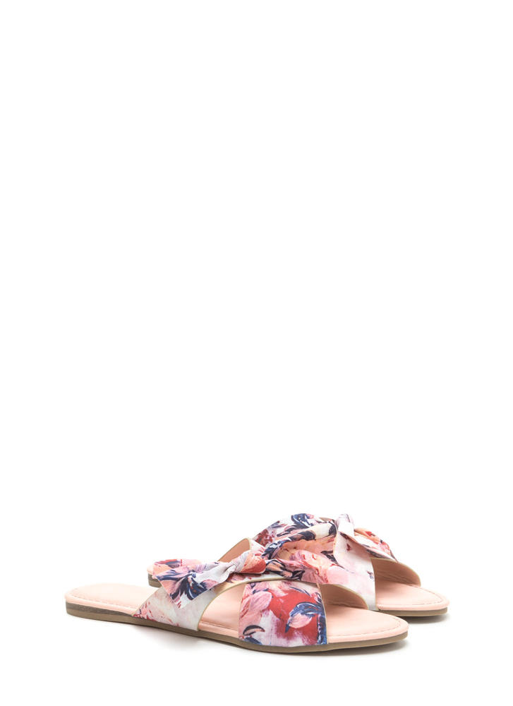 Vacay Knotted Bow Floral Sandals BLUSHMULTI