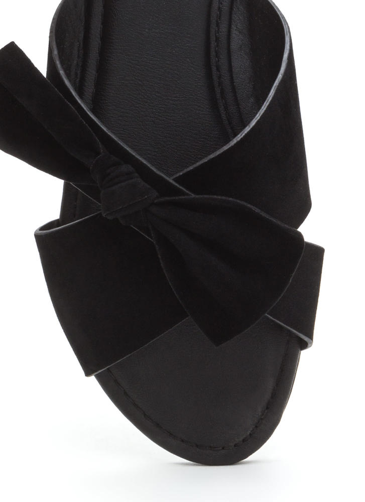 Vacay Knotted Bow Faux Suede Sandals BLACK