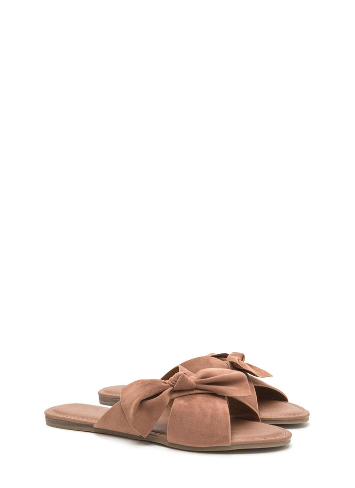 Vacay Knotted Bow Faux Suede Sandals CAMEL