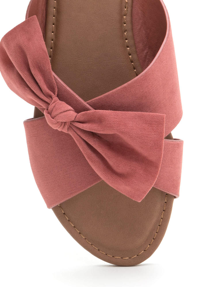 Vacay Knotted Bow Faux Suede Sandals MAUVE