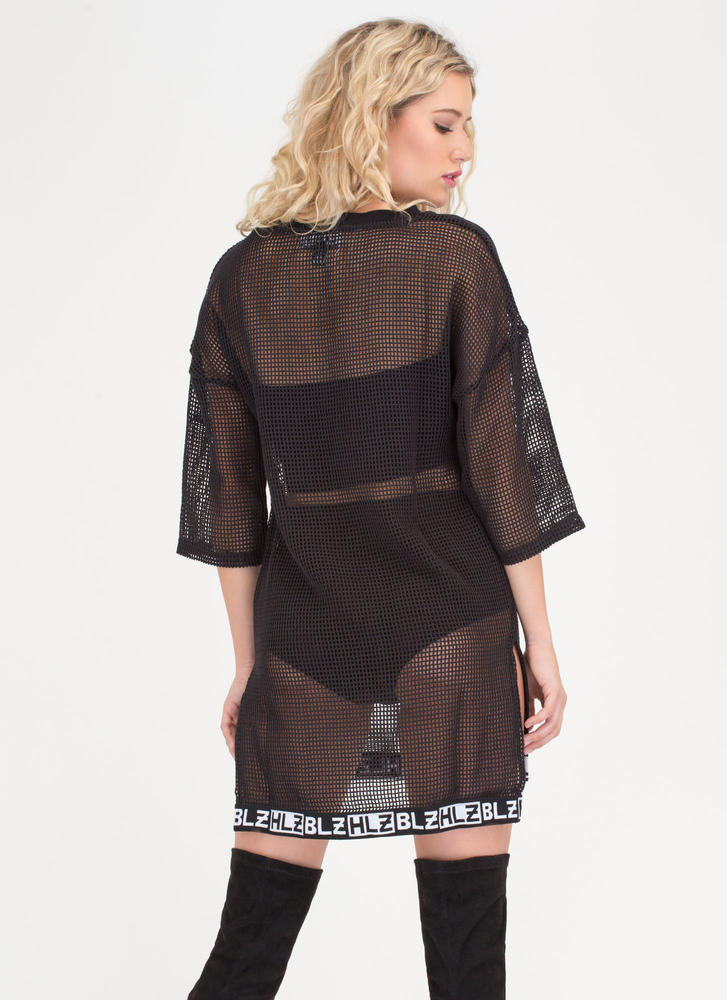 Open Secret Sheer Net Tee Dress BLACK