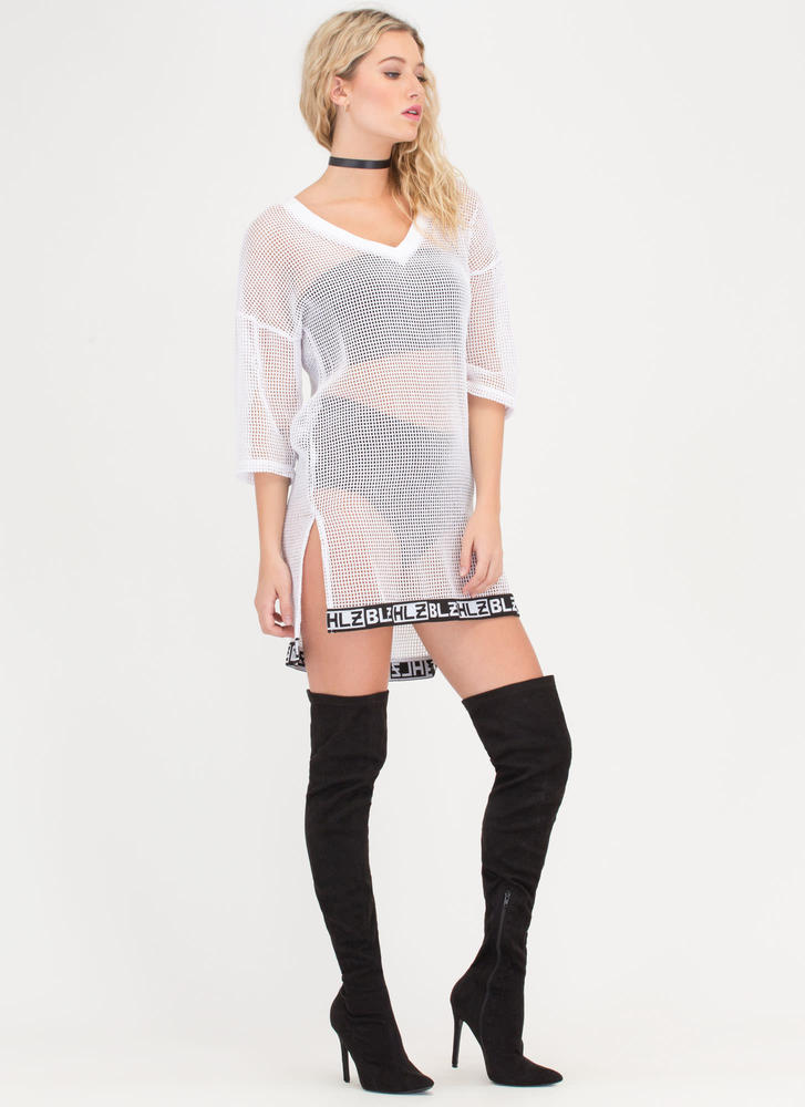 Open Secret Sheer Net Tee Dress WHITE