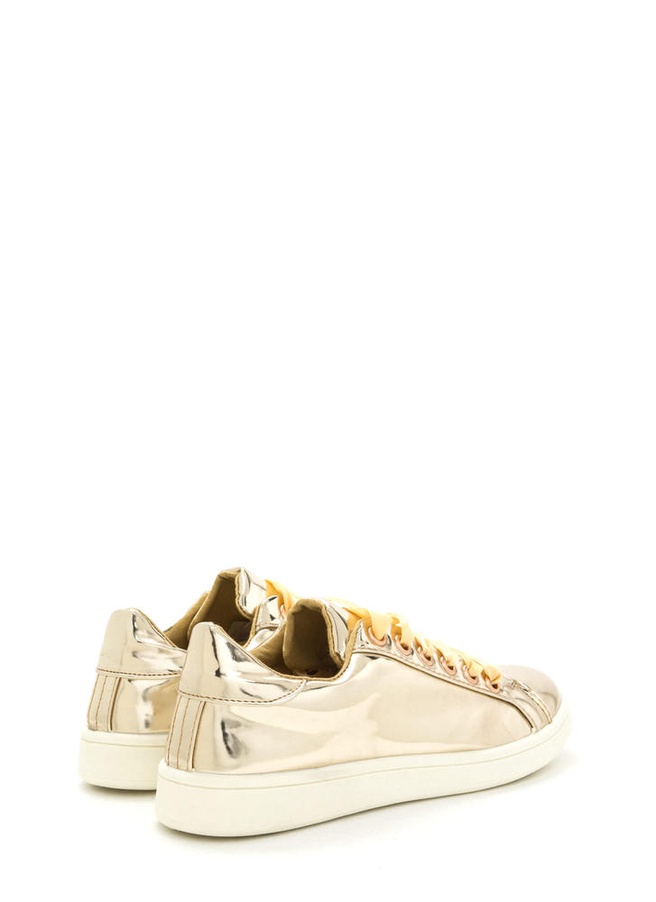 Tie The Ribbon Faux Patent Sneakers GOLD