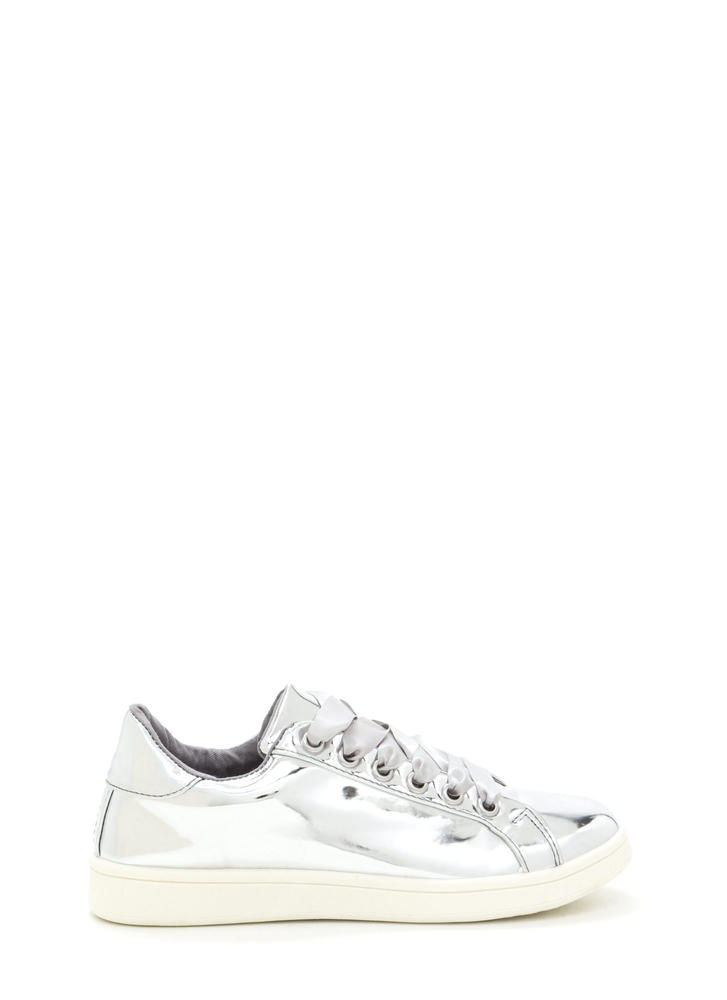 Tie The Ribbon Faux Patent Sneakers