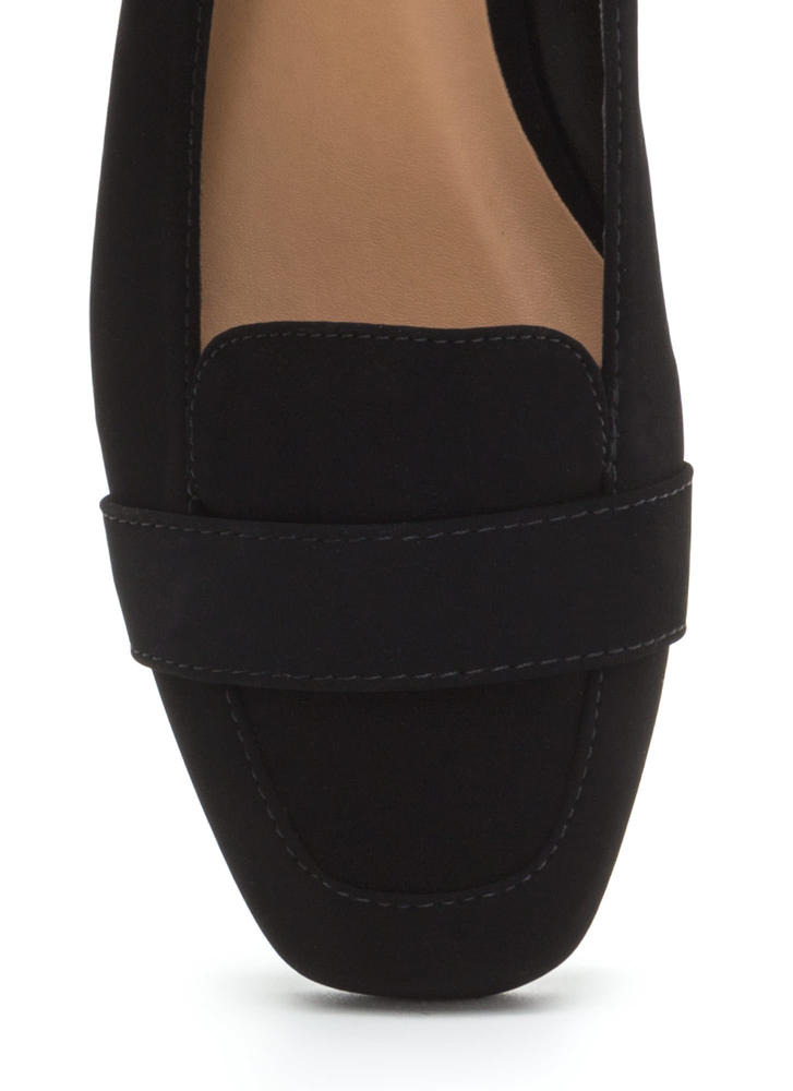 Be Square Faux Nubuck Smoking Flats BLACK