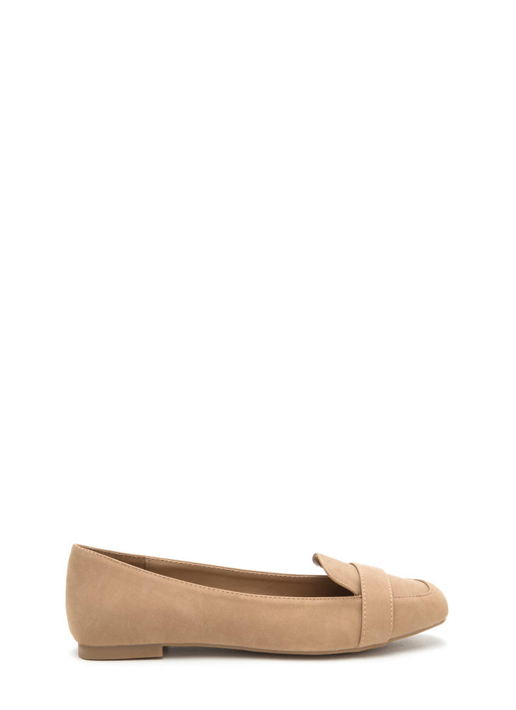 Be Square Faux Nubuck Smoking Flats NATURAL