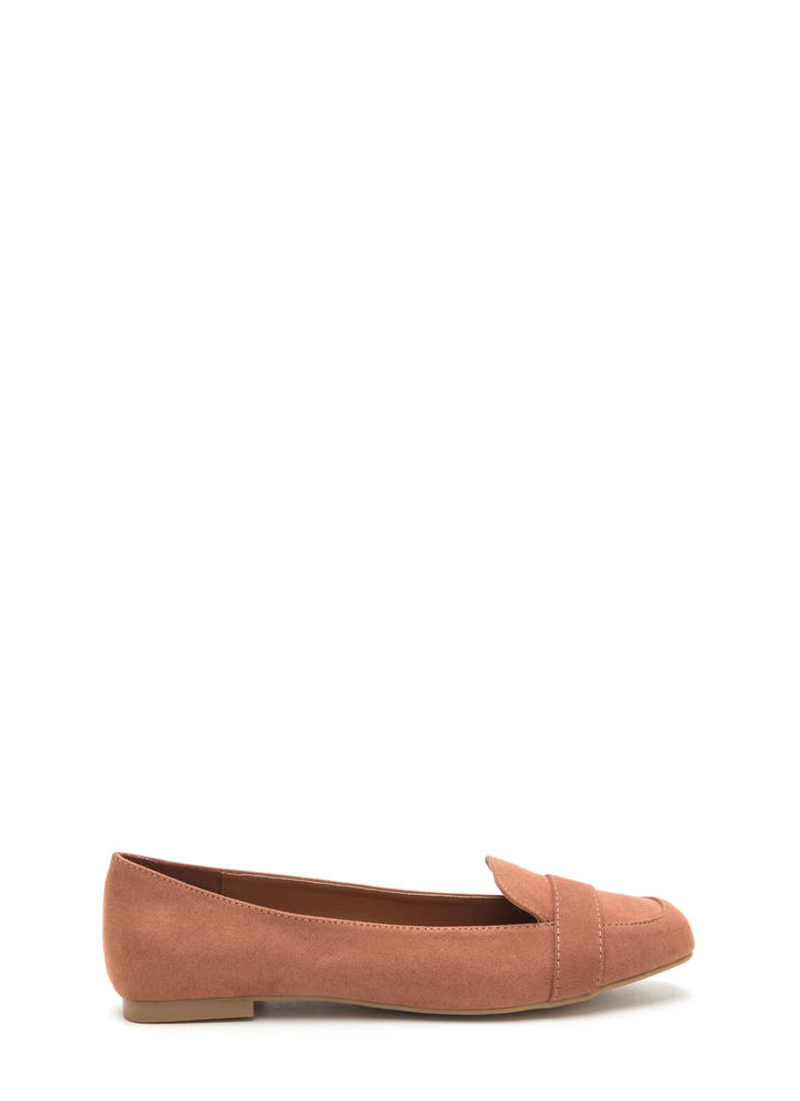 Be Square Faux Suede Smoking Flats