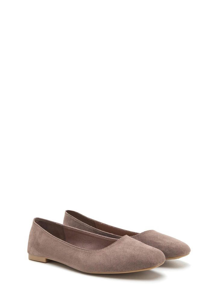 Chic No More Faux Suede Ballet Flats TAUPE