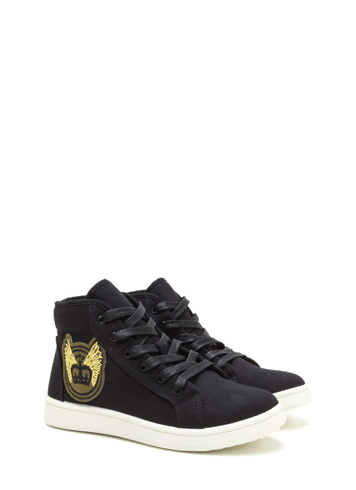 Flying High-Top Patch Sneakers BLACK