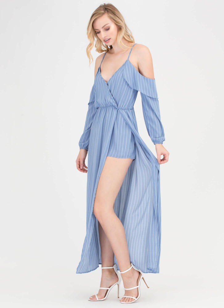 Down To Business Pinstriped Maxi BLUE