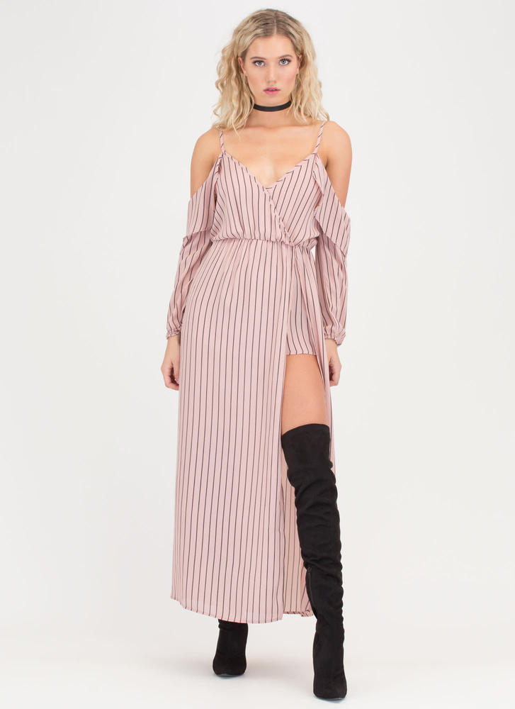 Down To Business Pinstriped Maxi PINK