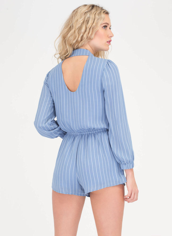 Get In Line Striped Choker Romper BLUE