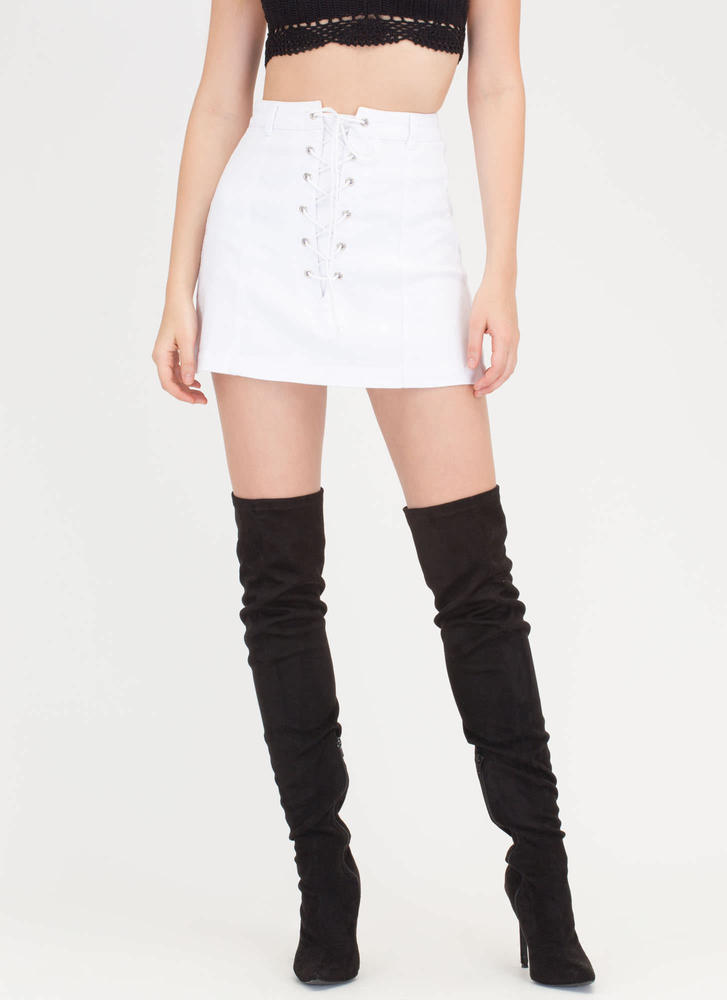 Learning To Lace-Up Denim Skirt WHITE