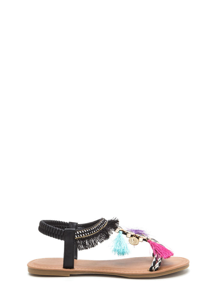 Seeing Stars Embellished T-Strap Sandals