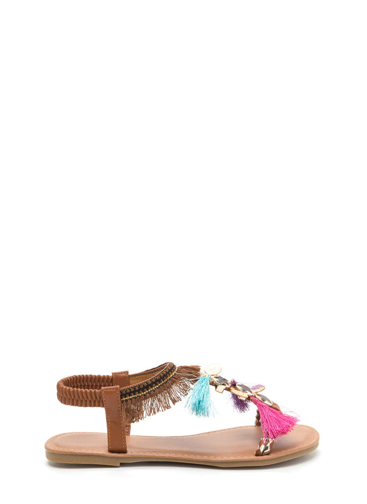 Seeing Stars Embellished T-Strap Sandals WHISKY