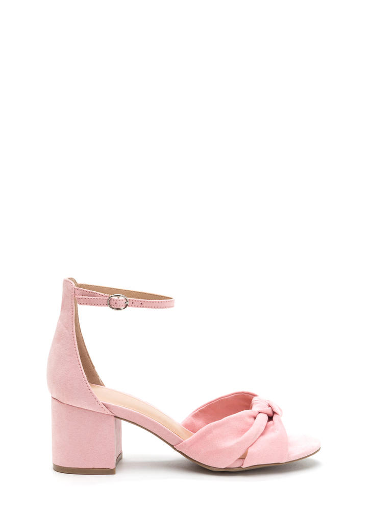 Knot So Bad Faux Suede Block Heels PEACH