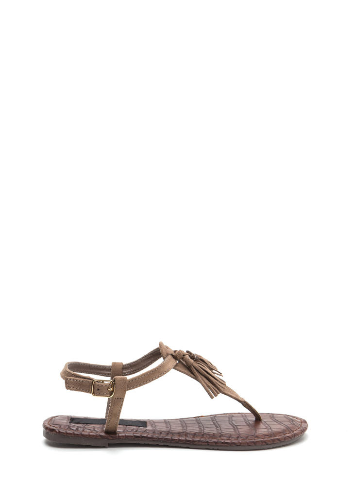 Two-Time Tasseled T-Strap Sandals TAUPE