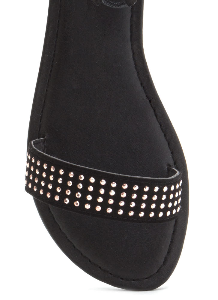 Bling It Up Studded Lace-Up Sandals BLACK
