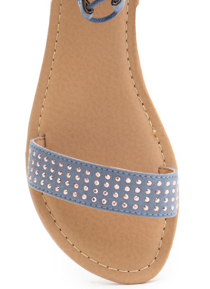 Bling It Up Studded Lace-Up Sandals BLUE