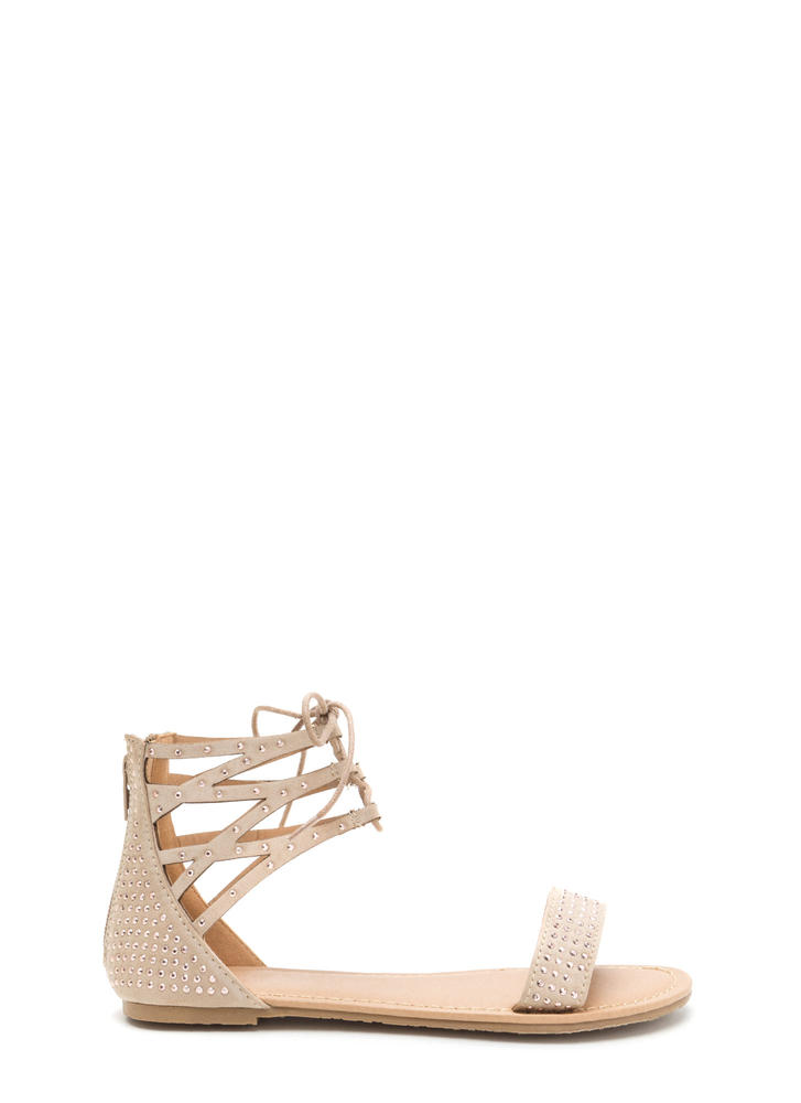 Bling It Up Studded Lace-Up Sandals NATURAL