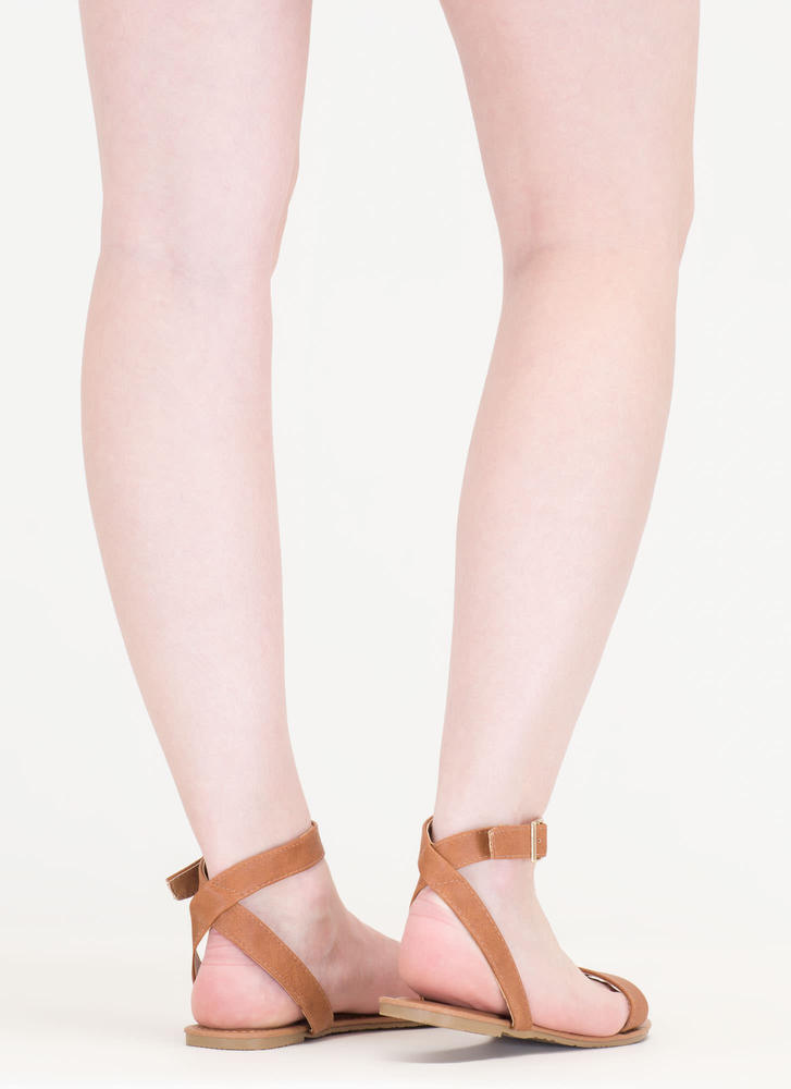 Clean Cut Buckled Strappy Sandals WHISKY
