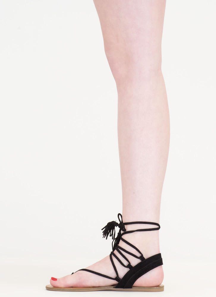 Bohemian Babe Studded Lace-Up Sandals BLACK