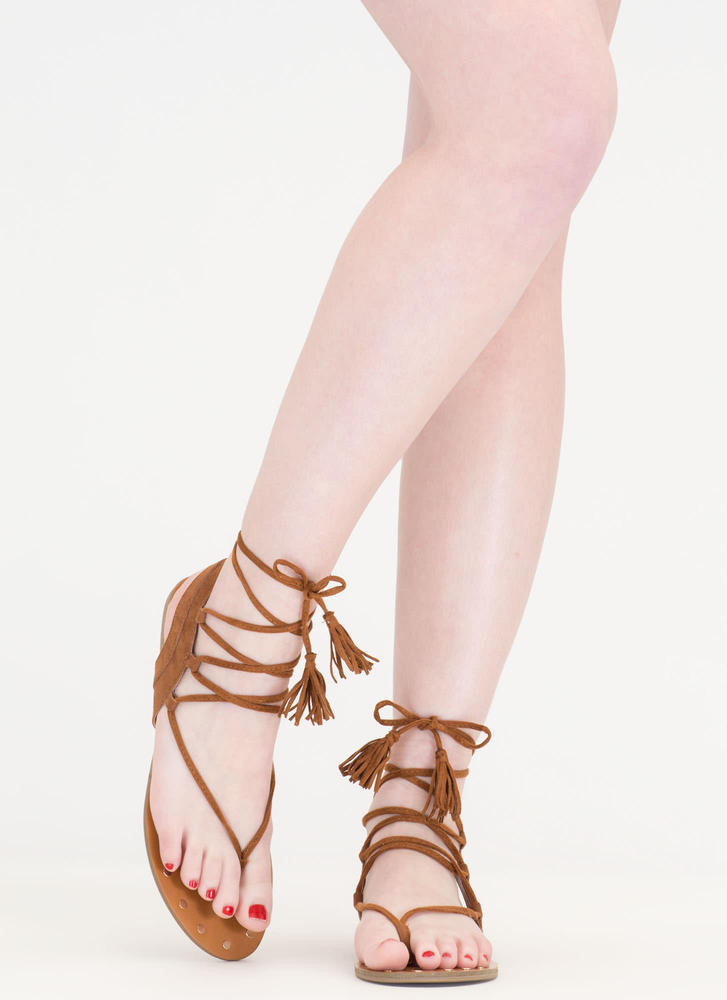 Bohemian Babe Studded Lace-Up Sandals WHISKY
