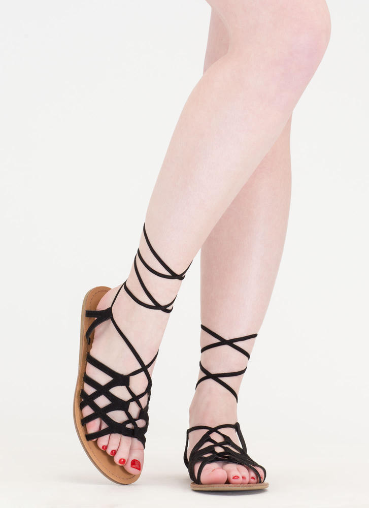 It's A Sign Lace-Up Gladiator Sandals BLACK