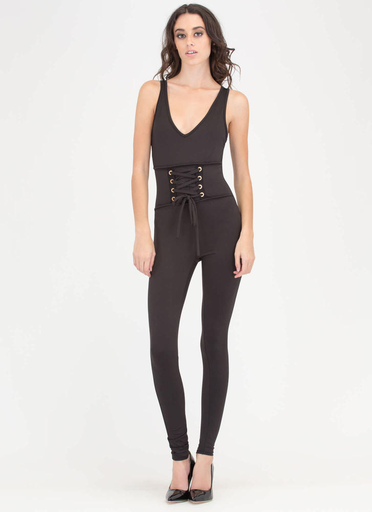 Suddenly Smitten Lace-Up Jumpsuit