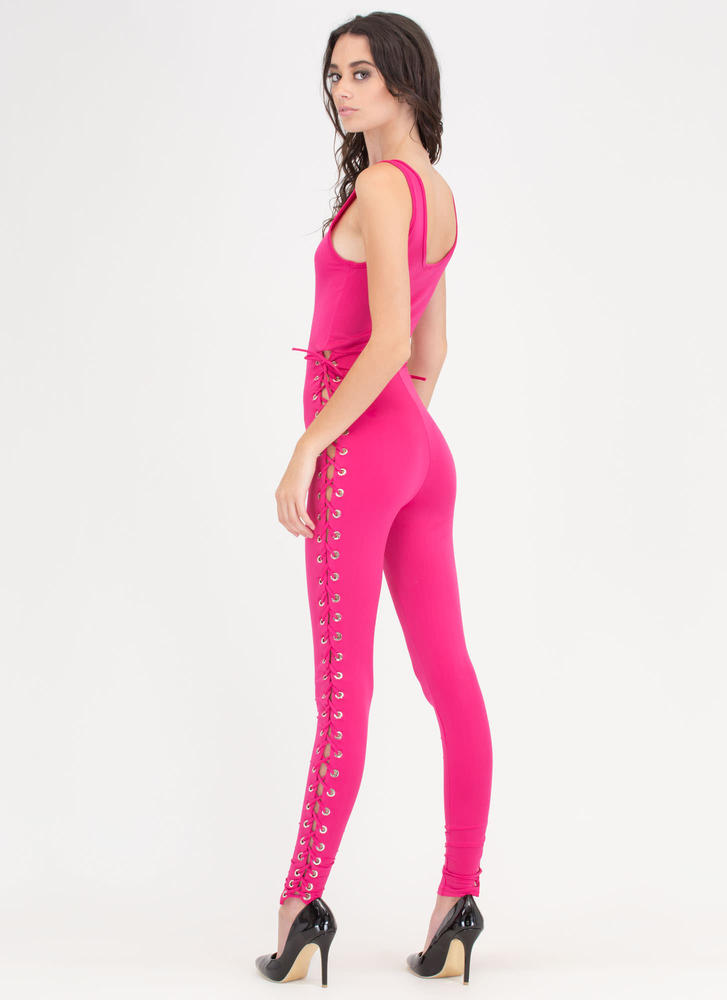 All Tied Up Scoop Neck Jumpsuit FUCHSIA