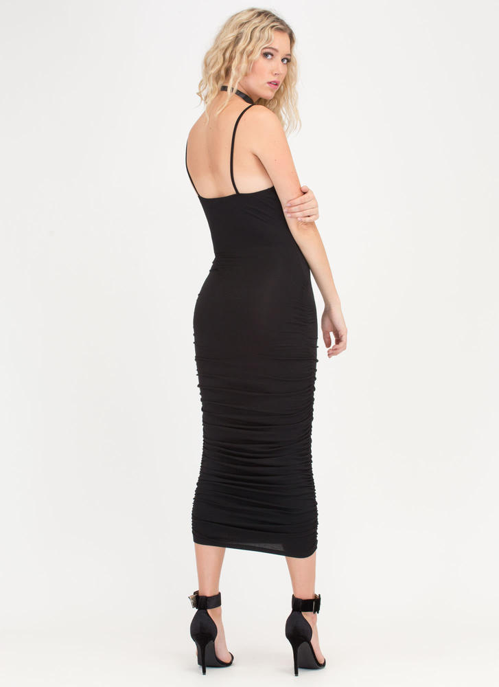 Ruche Hour Bodycon Midi Dress BLACK
