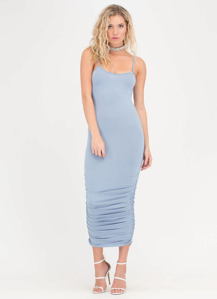 Ruche Hour Bodycon Midi Dress BLUE