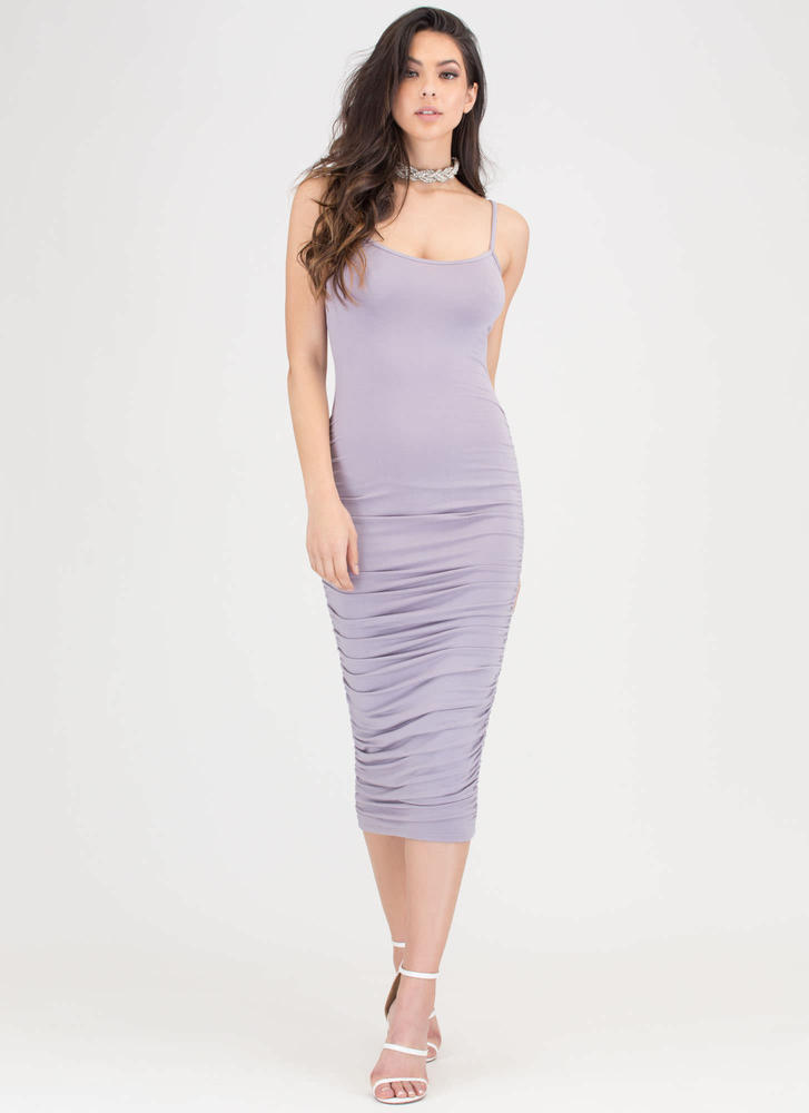 Ruche Hour Bodycon Midi Dress LAVENDER